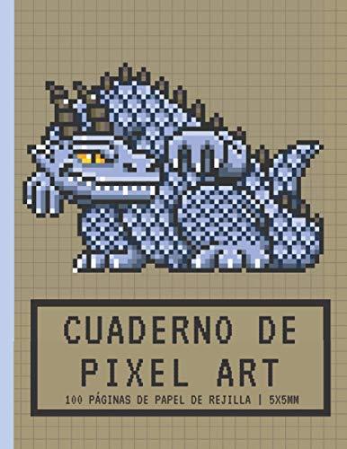 Cuaderno de PIXEL ART: Papel de rejilla Pequeñas baldosas 5x5mm | Cuaderno en blanco | Para hacer dibujos de píxeles y colorear | Monstruo dragón azul ... niños y niñas jugadores, niños y adultos