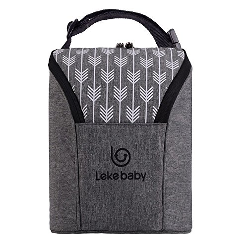 Lekebaby Insulated Baby Bottle Tote Bags for Travel Double Baby Bottle Warmer or Cool (Grey)