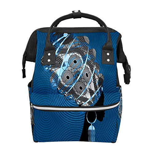 Striped Earrings Blue Diaper Bag Backpack Children Nappy Storage Travel Picnic Bag for Mom Maternity, Large Waterproof and Durable Nappy Bag for Children Care School Backpack