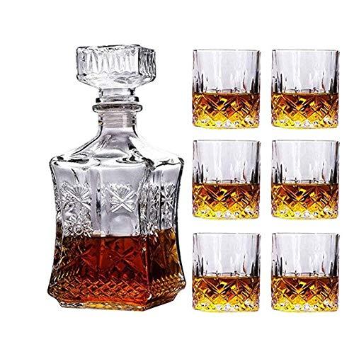 KAYBELE Juego de vinos de Vidrio de Whisky decantador de Whisky, Botella de Vino de Girasol Cuadrado + 6 Gafas de Whisky
