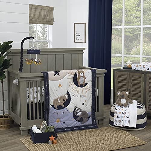NoJo Goodnight Sleep Tight White & Blue Koala, Sloth, Bear, Star, & Moon 4Piece Nursery Crib Bedding Set, Navy, Light Blue, Grey, White
