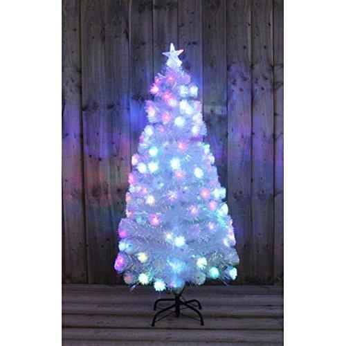 garden mile groß traditionell 3FT 5ft or 6ft weiß künstlich Kiefer Glasfaser Weihnachten Baum Multi Aktion Regenbogen-Farben LED Lichter mit Metallbasis - 3ft