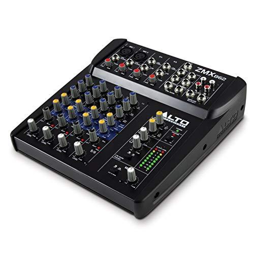 ALTO Professional ZMX862 - Mixer Audio Portatile Professionale 6 Canali con 2 Jack XLR, Alimentazione Phantom + EQ + Aux in/out