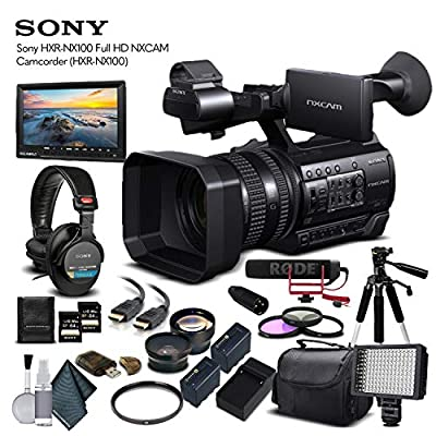 Sony HXR-NX100 Full HD NXCAM Camcorder (HXR-NX100) with 2-64GB Memory Card, 2 Extra Batteries, UV Filter, LED Light, Case, Tripod, Rode VM-GO Mic, External Screen, Headphones - Professional Bundle from Mad Cameras