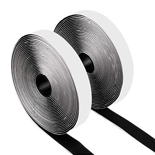 Sinwind 10m Klettband Selbstklebend Extra Stark Wei/ß Doppelseitig Klebende mit Klettverschluss 10m Lange 20mm Breit Selbstklebendes Klebepad Flauschband und Hakenband