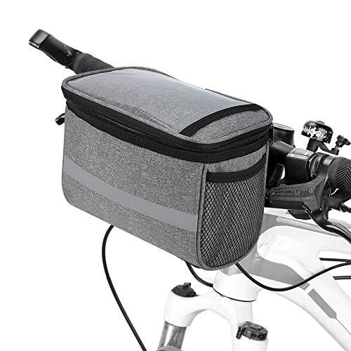 Lixada Fahrrad Lenkertasche Isoliert Fronttasche MTB Lenkertasche Korb Pannier Kühltasche mit Reflektorstreifen