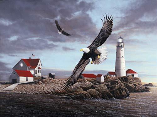 Waniyin Rompecabezas For Niños Y Adultos 1000 Pedazos De Madera Puzzle Kits Regalos De Bricolaje Pintura Mural Juegos Educativos Juguetes 75X50cm (Color : Lighthouse and Eagle)