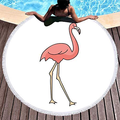 MMSWDT Toalla De Playa Redonda De Gran Tamaño Dibujos Animados Pintada A Mano Estampado De Flamenco Borla Toalla De Secado Rápido Adulto Niño Cojín De Playa Funda-005_150 * 150Cm