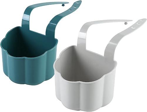 new arrival Kitchen Sink Holder: outlet online sale Sink Shelf Hanging Soap Sponge Drain Rack Hang Basket Kitchen Storage Kitchen Bathroom Accessories Organizer sale (Blue+Grey) sale