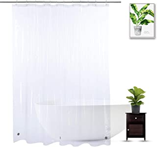 WellColor Shower Curtain Liner 72 x 78 Inch, Clear Extra Long Shower Liner 78 Inches Long with 3 Strong Weighted Magnets, Heavy Duty, See Through