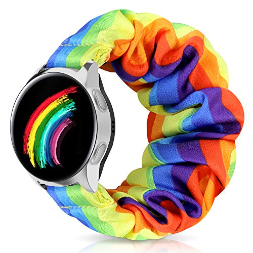 ShuYo 20mm Scrunchie Watch Band Compatible for Galaxy Watch/Active 2 40mm 44mm/Gear S2 Classic/Gear Sport/Ticwatch Gizmo,Soft Elastic Pattern Printed Fabric Replacement Band Wristbands for Women Girl