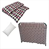 6/3 Feet Single Folding/Portable Bed Tool-Free Assembled with Storage - Random Color with Soft Cotton Filled Mattress | Gadda and Pillow