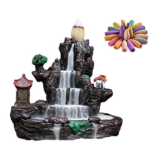 WANGW Rauch Backflow Räucherstäbchenhalter, Räuchergefäß Halter Wasserfall, Harz Räucherstäbchenhalter Mit 60PCs Rückfluss Räucherkegel Für Umweltreinigung Yoga Haus Dekoration