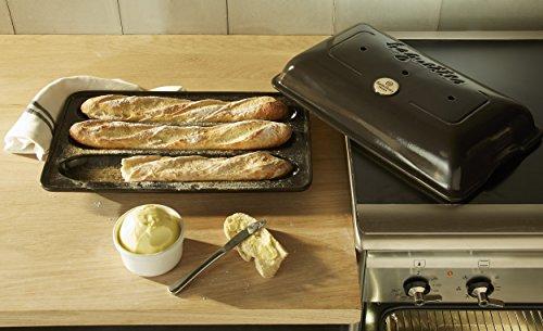 "Emile Henry Made In France Baguette Baker, 15.4 x 9.4"""", Charcoal"