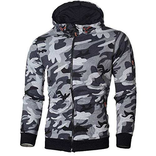 Hoodies For Men, Clearance Sale! Pervobs Mens Autumn Long Sleeve Hooded Fashion Camouflage Zip Pullover Hoodies(3XL, Gray)