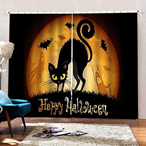 JMHomeDecor Cortinas Opacas De Halloween Bat Moon Black Cat 3D Tela De...