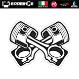 erreinge Sticker Bomb x2 Teschio Punisher Pistoni Adesivo Sagomato in PVC per Decalcomania Parete Murale Auto Moto Casco Camper Laptop cm 12