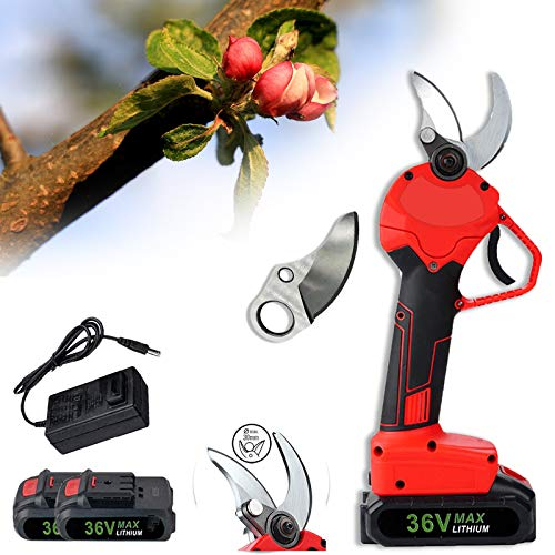 TZUTOGETHER Tijeras eléctricas para Cortar Ramas,36V 2 batería, 30mm Tijeras de podar eléctricas sin Cuerda del jardín,Recortadora de arbustos de árboles,Diseño ergonómico(+Cuchilla de Repuest