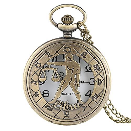 LWCOTTAGE Reloj De Bolsillo De Cuarzo - 12 Constelación Astrología Zodíaco Reloj De Bolsillo Retro Collar De Bronce Colgante Hombres Mujeres Cubierta Abatible Hueca Cuarzo, Libra, Cade