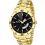 Buccachi Black Dial Day & Date Functioning Water Resistant Gold Color Stainless Steel