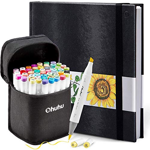 """Ohuhu 48 Colors Alcohol Brush Markers (Brush & Chisel, Bonus 1 Colorless Blender) + 8.3"""" ×8.3"""" Marker Pads Art Sketchbook, 120LB/200GSM Heavy Smooth Drawing Papers, 78 Sheets/156 Pages"""
