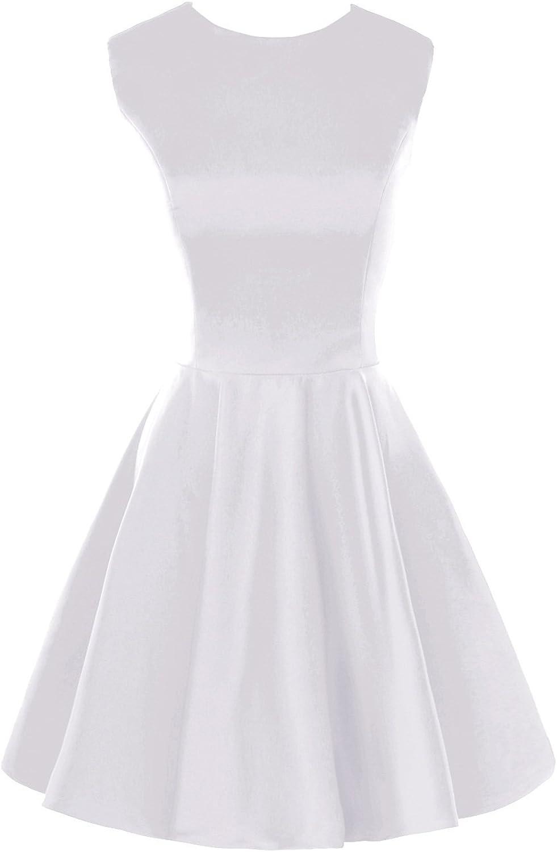 Bess Bridal Women's Short Mini a Line Satin Bridesmaid Dresses