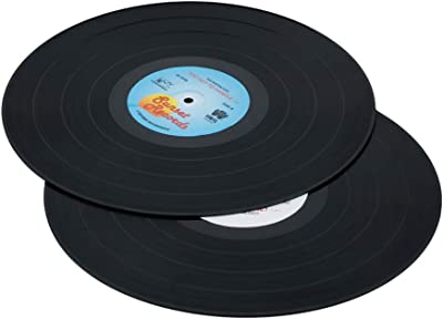 YunNanBoCheng Retro Silicone Table Mats,Extra-Large Flexible Vintage Old Record Non-Slip CD Shape Placemats,Black (Black)