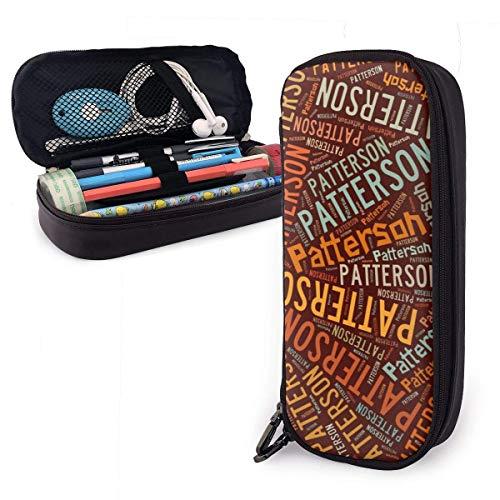 Patterson American Nachname Leder Bleistiftetui Bleistiftstifthalter Großer Aufbewahrungsbeutel Box Organizer Office Makeup Pen Stuff & Travel Carrying Bag
