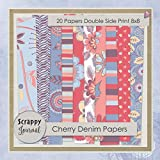 Cherry Denim Papers: 20 Scrapbook Papers Double Sided Prints 8 x 8