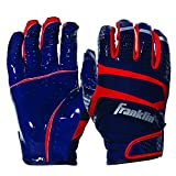 Franklin Sports Hi-Tack Premium Football Receiver Gloves - Navy/Red - Youth Large