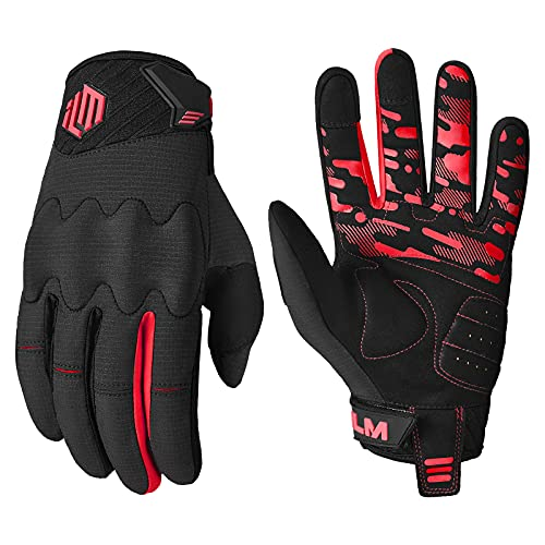 ILM Adult Motorcycle Dirt Bike Motocross ATV MTB Mountain Bike Gloves Full Finger Summer Breathable Touch Screen Glove for Bicycle Cycling BMX Sports Outdoor (Red Adult-L)