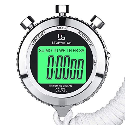 LAOPAO Cronometro, 2 Memoria 1/100 Secondi Precision con Funzione Luce e Muto Cronografo Timer per...
