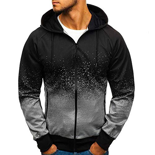 ZHOUJEE Men's Hooded Fashion Coat Jacket Digital Printing Gradient Casual Sweater, red, Gray, Army Green; M-XXXXL Size,