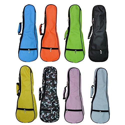 Zealux Tasche für Ukulele bunt verstellbarer Schulterriemen 5mm Schwammpolsterung 21 in Orange