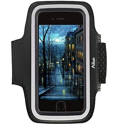 AILUN Phone Armband,Compatible iPhone X/Xs/XR/Xs Max 8/7 Plus Galaxy Note 8 s8 s9 Plus Sport Anti Slip,Dual Arm-Size Slots,Sweat&Scratch Resistant Key Pocket,with Touch ID Headphone Port[Black]