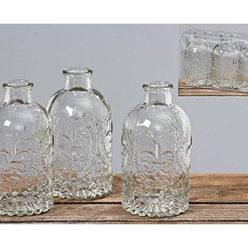 3 Stück, vintage-Stil, gehämmert, Glas klar Blume Vasen/Tischdekoration