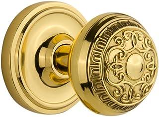 "Nostalgic Warehouse Classic Rosette with Egg & Dart Door Knob, Privacy - 2.75"", Unlacquered Brass"