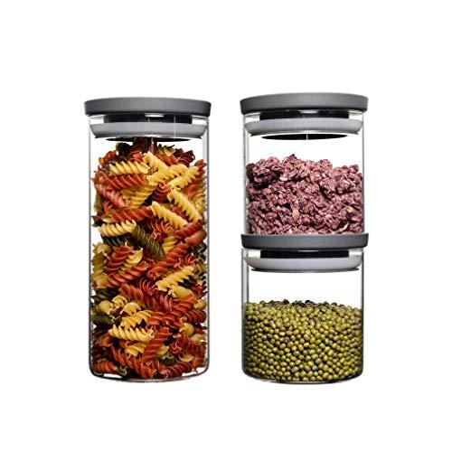HATTY HAYS Vorratsgläser für die organisierte Küche | stapelbare Vorratsbehälter | robustes Glas | Füllgrad immer im Blick | spülmaschinengeeignet | 2x 0,5l & 1x 1,0l