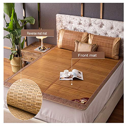 YJFENG Mat, Carbonized Bamboo Mat Foldable Natural Materials Smooth And Burr-free Dormitory Dual-use Ice Silk Single Double (Color : Brown, Size : 150x195cm)