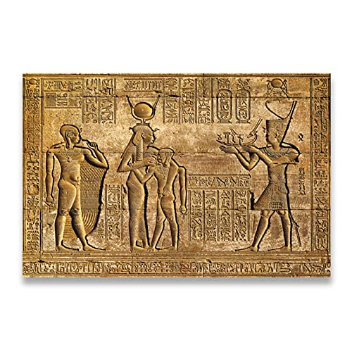 Pknbfw Jeroglíficos egipcios Fresco Lienzo Pintura Reina Hatshepsut Templo Talla de piedra Faraón Antiguo Egipto Mural de pared Impresión de póster -50x70cm Sin marco