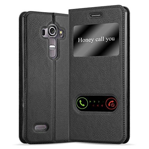 Cadorabo Funda Libro para LG G4 / G4 Plus en Negro Cometa - Cubierta Proteccíon con Cierre Magnético, Función de Suporte y 2 Ventanas- Etui Case Cover Carcasa