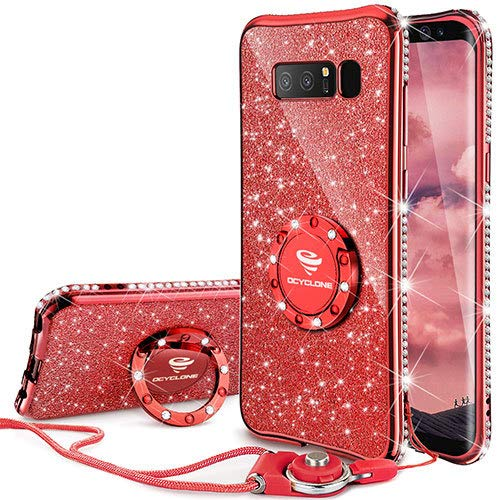 OCYCLONE Galaxy Note 8 Case, Glitter Luxury Cute Phone Case for Women Girls with Kickstand, Bling Diamond Rhinestone Bumper with Ring Stand Compatible with Galaxy Note 8 Case for Girl Women - Red