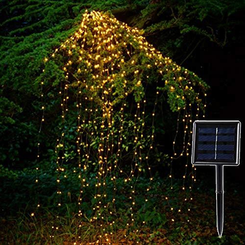 solar gartenlicht,Solar Coppe Lichterketten, Outdoorleds Wasserfall, Fee Eiszapfen, Lampe Reben Zweig Garten Xmas Tree Decor Light, wasserdichte Außenleuchten