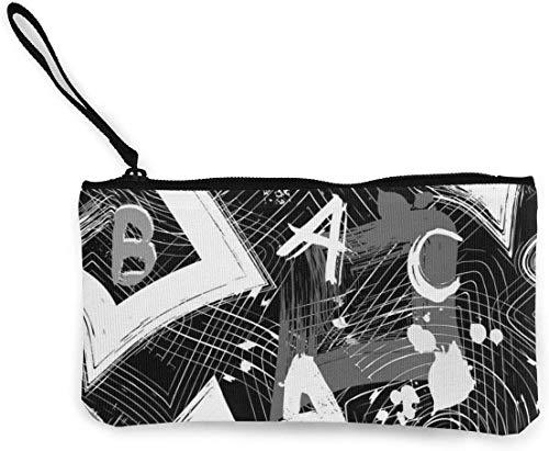 Yuanmeiju Urban Geometric Black and White Abstract Vector Monedero de Lona para Mujer Mini Monedero de Cambio Portatarjetas Cartera de teléfono Bolsa de Almacenamiento Mochilas Informales