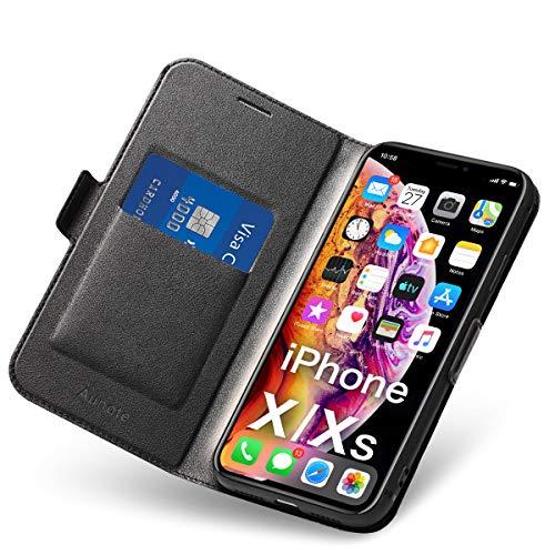 Cover per iPhone X/XS, iPhone 10 Flip Custodia Pelle, PU + TPU Silicone Morbida Antiurto - Completa Protezione. Custodie Cellulari - Portafoglio Folio con Funzione Supporto e Chiusura Magnetica (Nero)