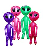 Inflatable Aliens For Girls And Boys Alien Party Decoration And Prop - Assorted Colors 36 Inch Alien Inflate Pack Of 4