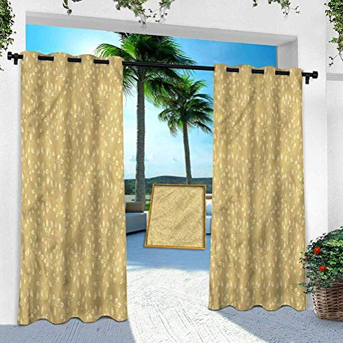 Aishare Store Outdoor Printed Curtains, Beige,Modern Floral Leaf Patterns, 108 Inches Long Thermal Insulated Grommet for Patio Porch Cabana(1 Panel)