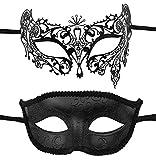 2 Pack Couple's Venetian Masks Set Masquerade Ball Mask Carnival Mardi Gras Prom Mask (Black-02)