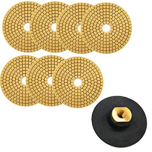 KingBra - Juego de 7 discos de lijado de diamante mojado, grano 50 – 3000 de 4 pulgadas con 1 parte trasera de goma M14 para lijadora de hormigón de cristal de cuarzo y mármol