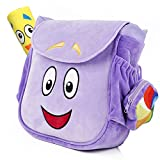 TIMSOPHIA Creative Backpack with Map Toys School Bag Purple Cartoon Storage Bookbag(A)